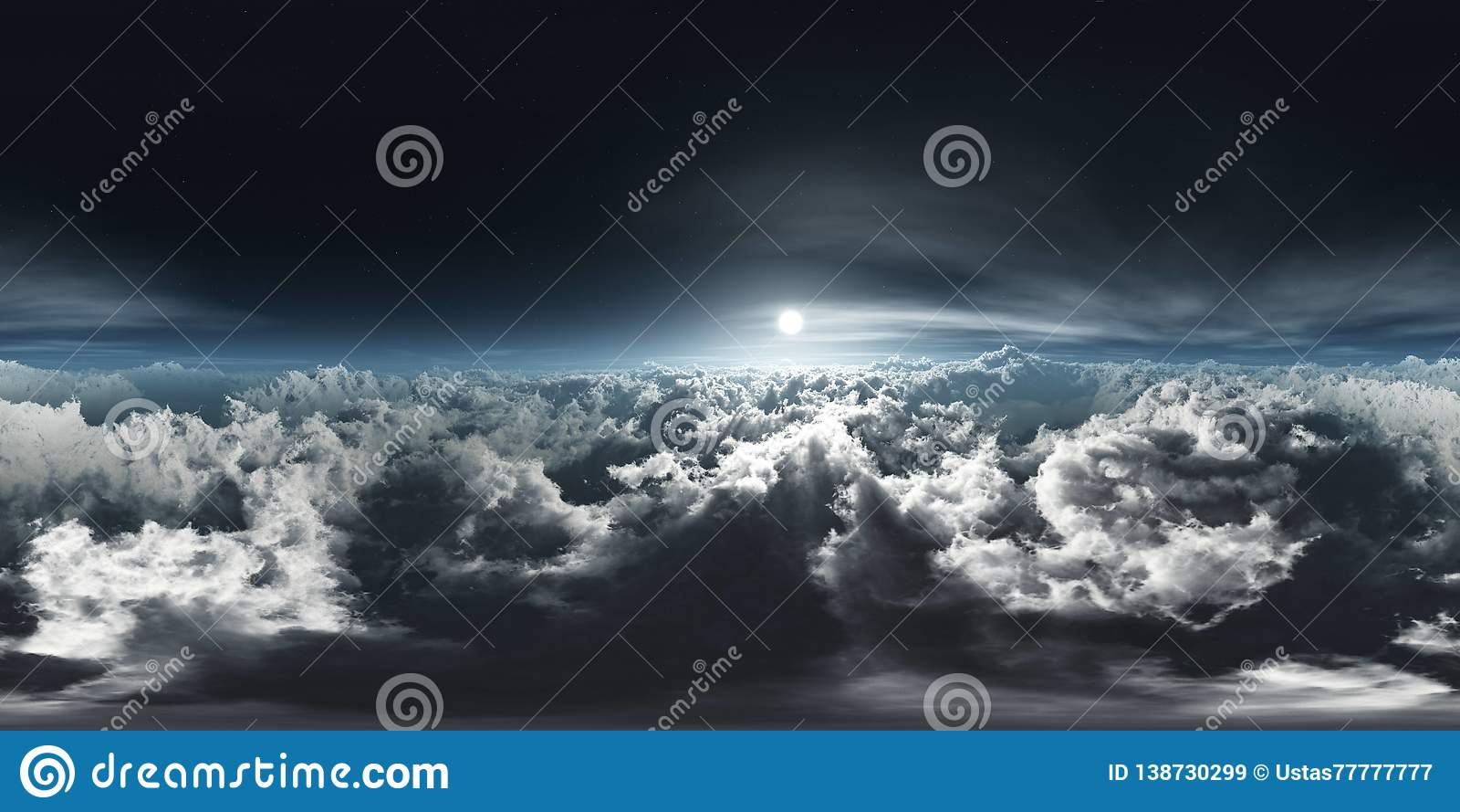 Beautiful Clouds, Panorama Of Clouds, HDRI, Environment Map Stock