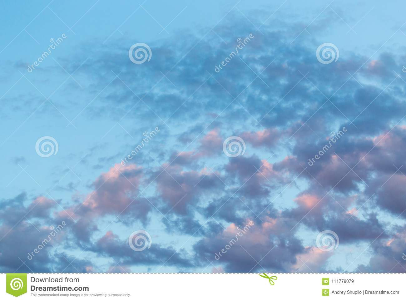 Beautiful clouds in the sky at sunset background