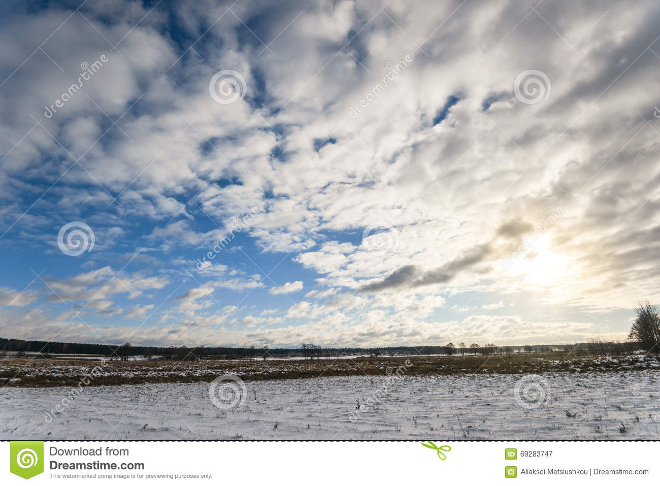 Beautiful Cloudy And Blue Sky Panorama Over Ice Lake Stock ...
