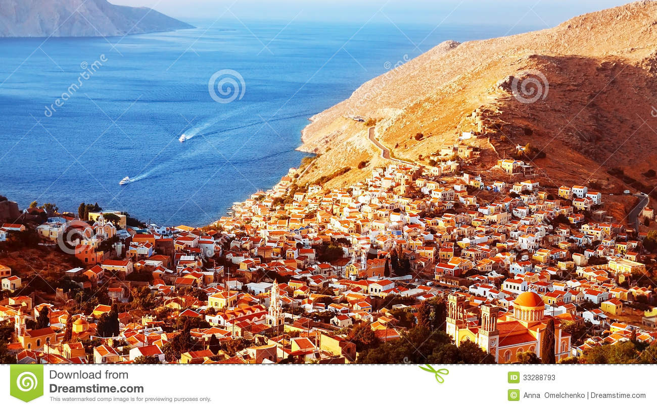 Beautiful Coastal City Picturesque Landscape Old European Many Little Houses Seaside Greece Summer Holiday Travel