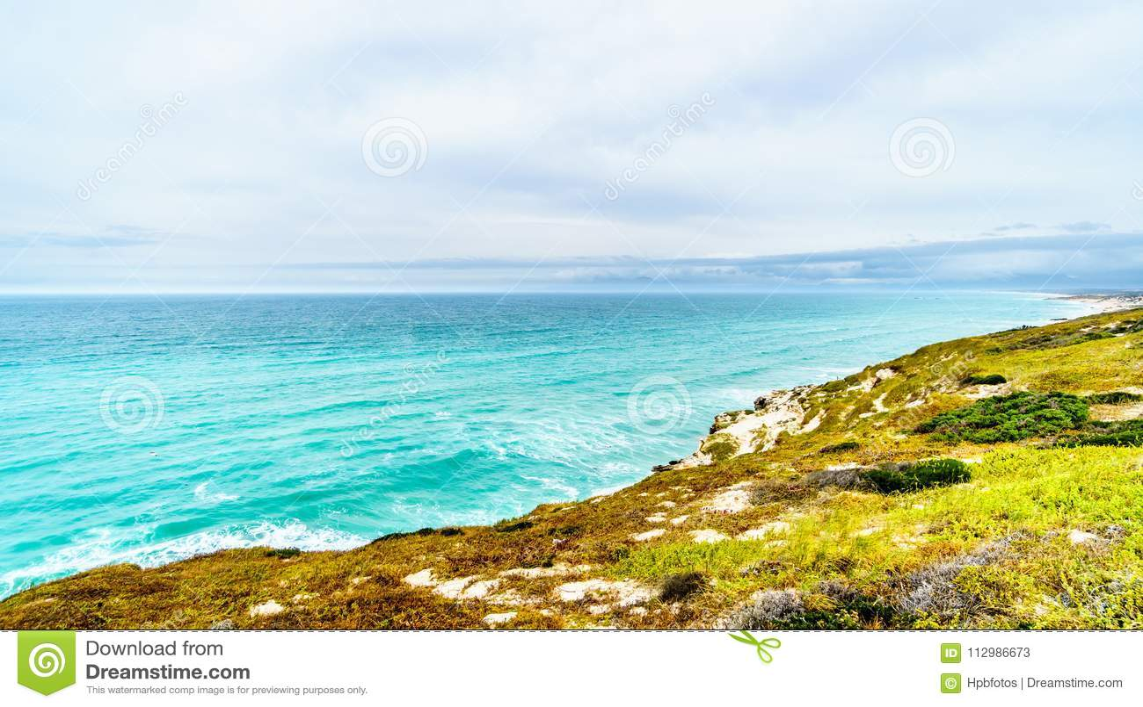 The beautiful Coastline of False Bay along Baden Powell Drive between Macassar and Muizenberg near Cape Town