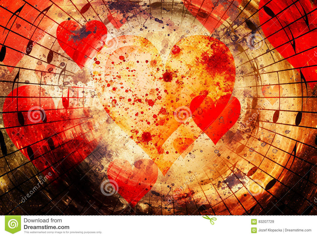 Beautiful Collage With Hearts And Music Notes In Cosmic Space