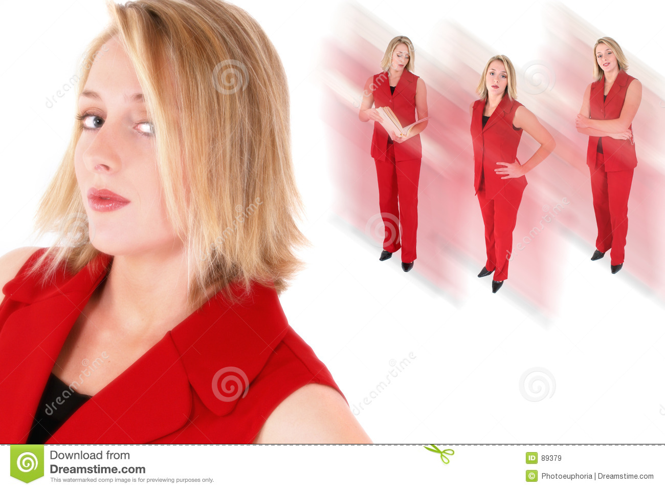 Beautiful collage red suit woman