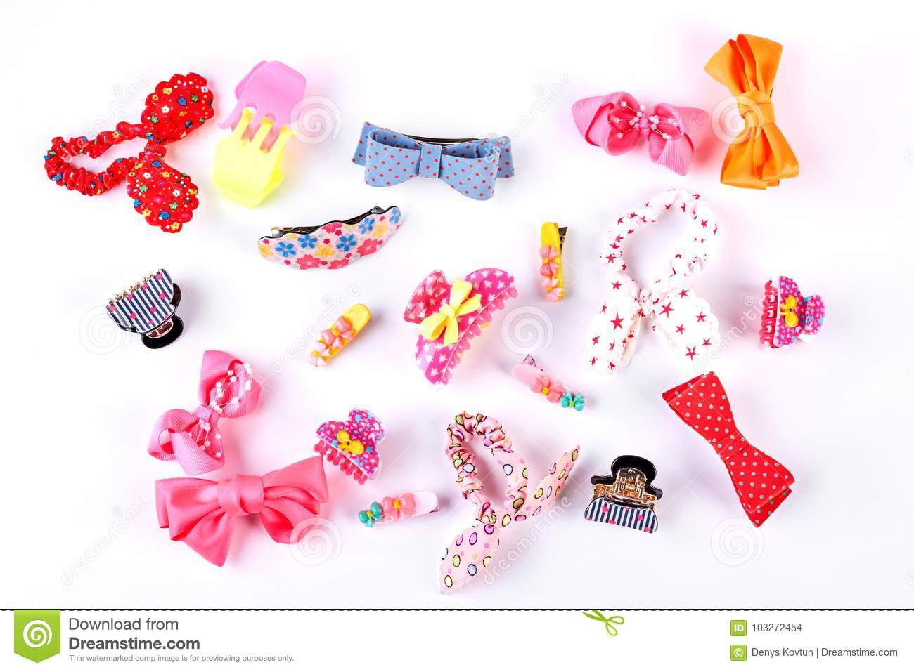 Beautiful Collection Of Kids Hair Accessories Stock Photo Image