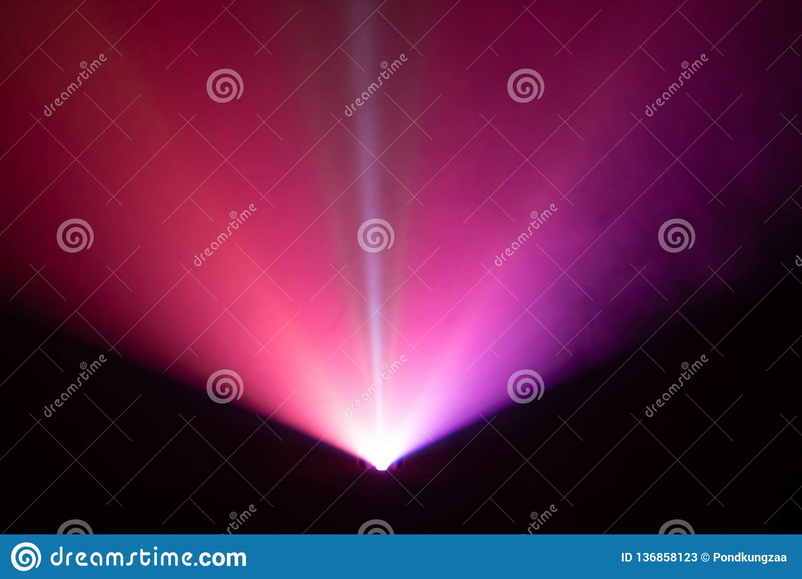 Beautiful color wide lens projector light beam for movie and cinema at night . smoke texture spotlight . screening for multimedia