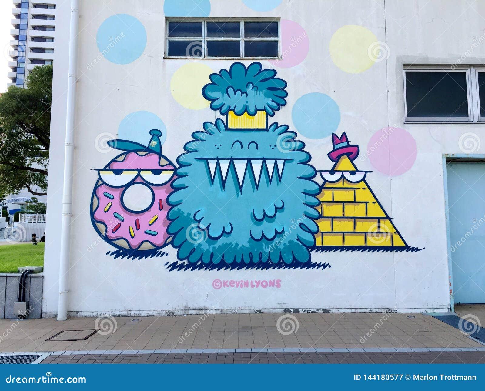 Beautiful colored Mural graffiti in Meriken Park, Kobe