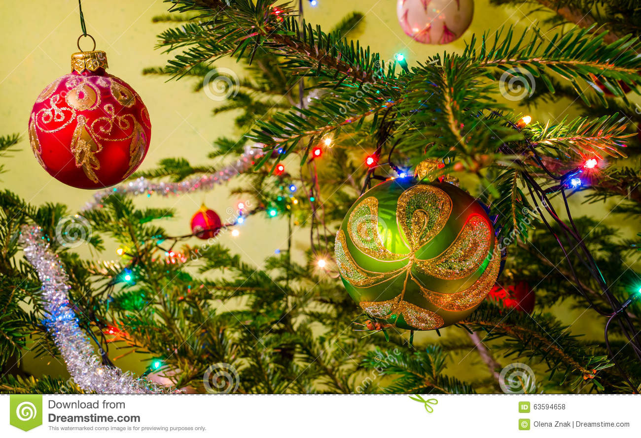 Beautiful Colorful Christmas Decorations Stock Photo