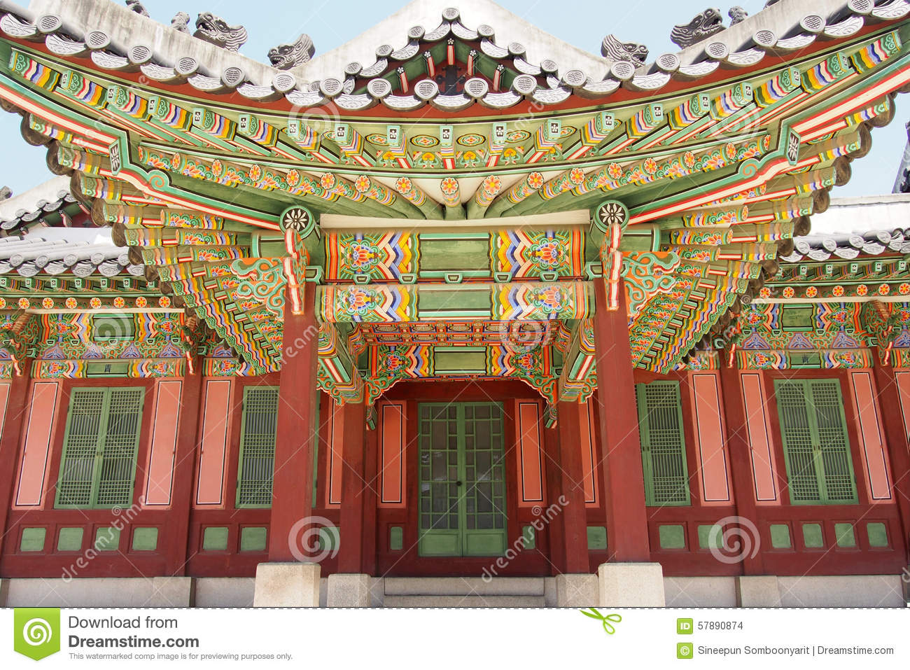 Beautiful and colorful exterior of traditional Korean building