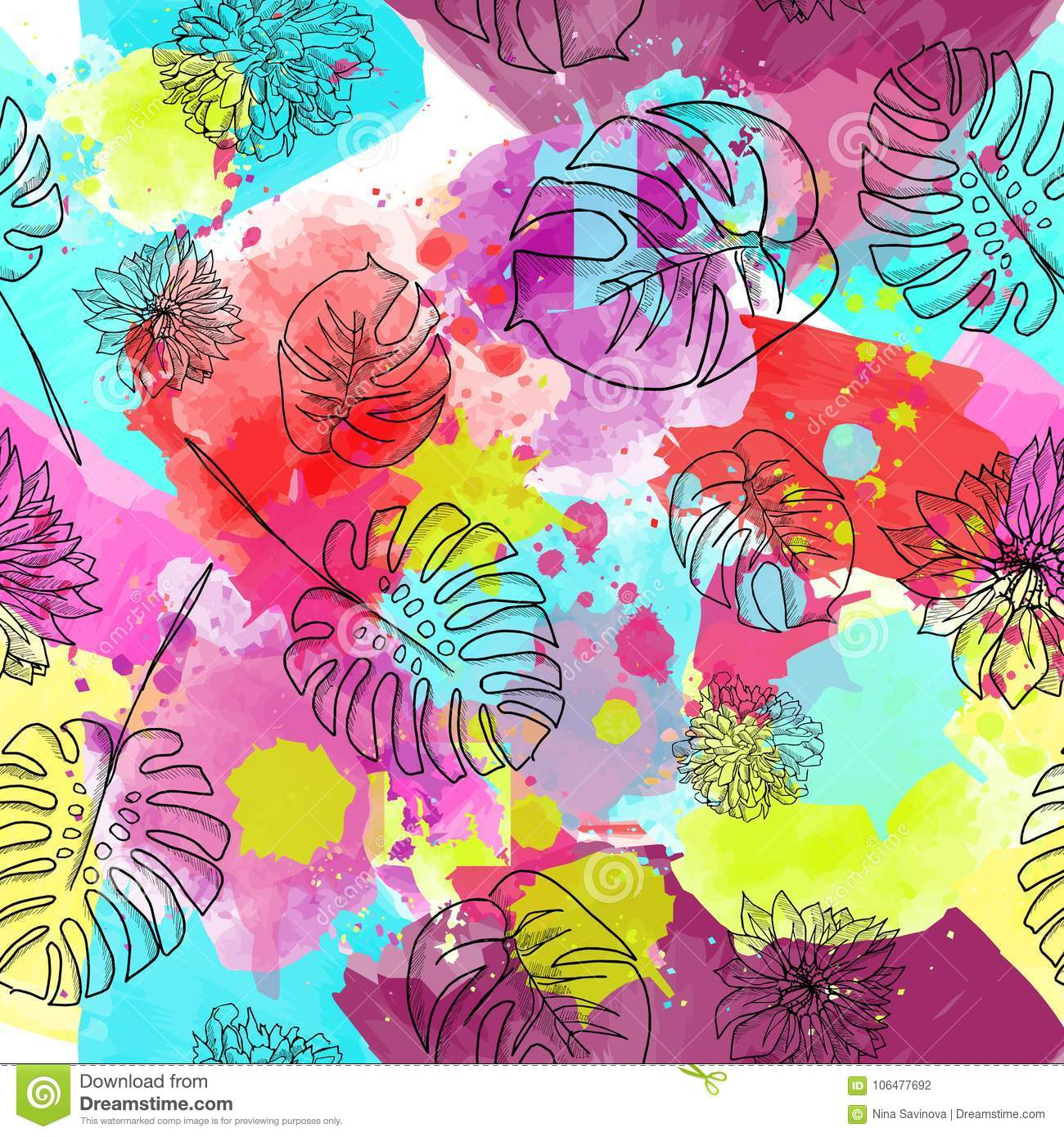 Beautiful and colorful flowers seamless pattern vector