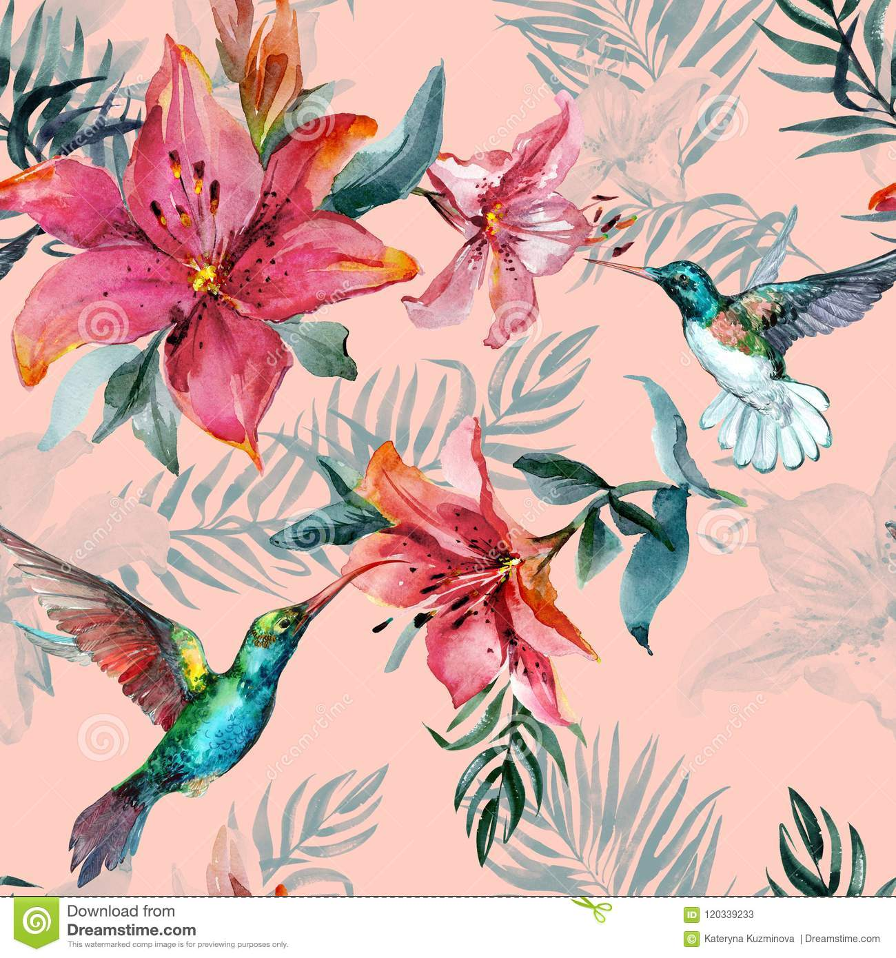 Beautiful Colorful Flying Hummingbirds And Red Flowers On Pink