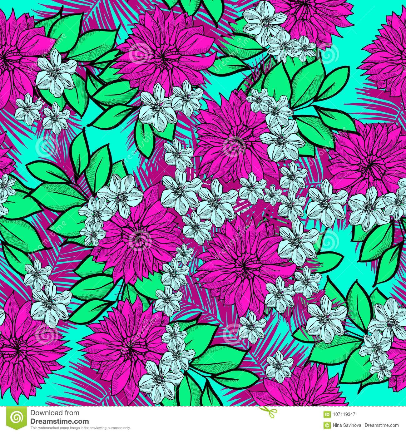 Beautiful and colorful hand drawn hawaiian tropical flowers repeated download beautiful and colorful hand drawn hawaiian tropical flowers repeated pattern vector stock vector illustration izmirmasajfo