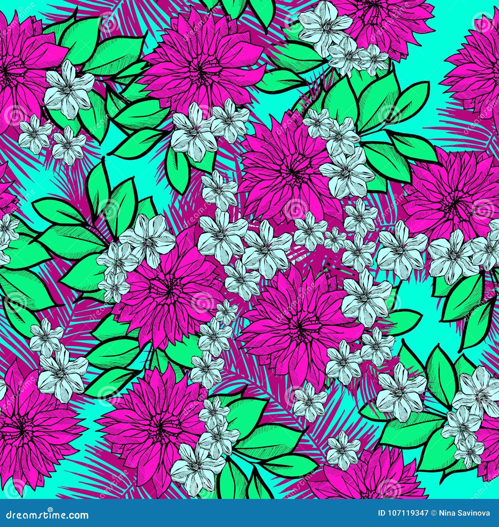 Beautiful And Colorful Hand Drawn Hawaiian Tropical Flowers Repeated