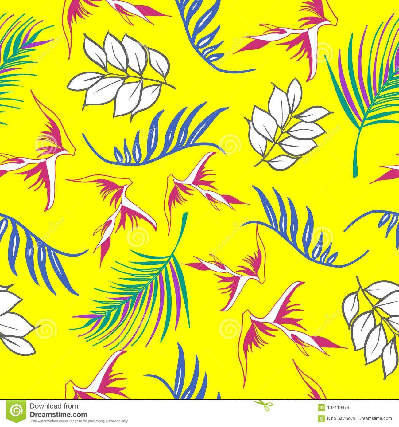 Beautiful and colorful hand drawn hawaiian tropical flowers repeated pattern vector