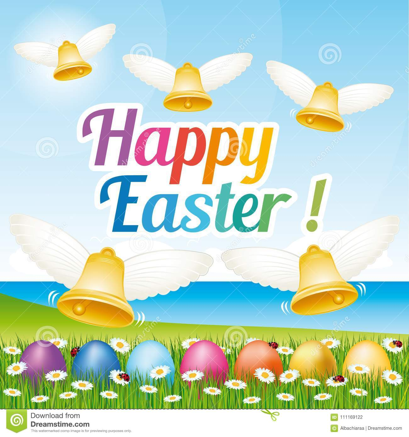 Beautiful and colorful Happy Easter greeting card with easter eggs and bells. Illustration III.