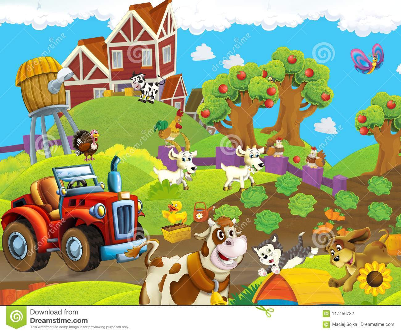 Cartoon Scene With Happy Animals On The Farm - With Tractor