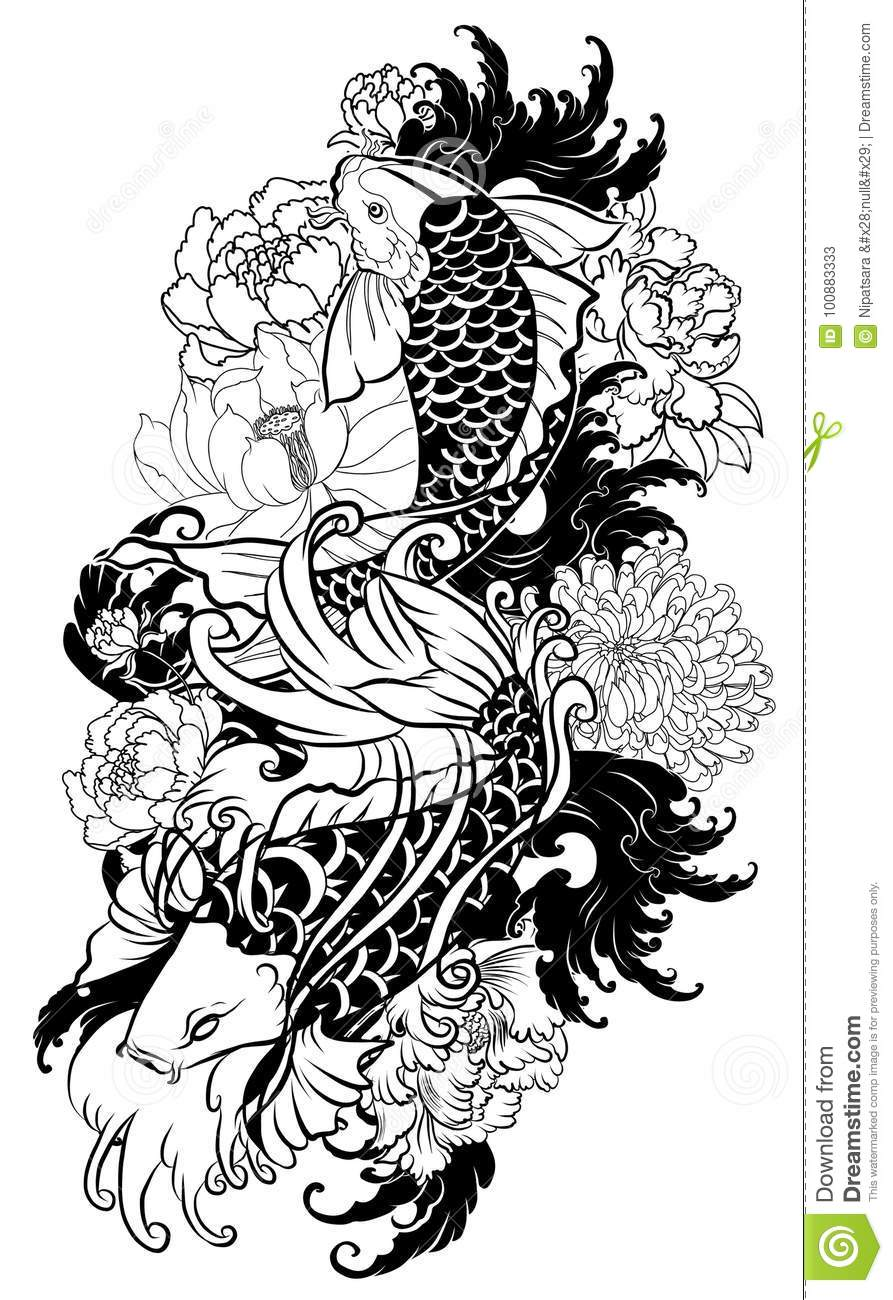 a1c6a0622 Beautiful, colorful Koi carp with water splash, lotus and peony flower.  Traditional Japanese tattoo design.