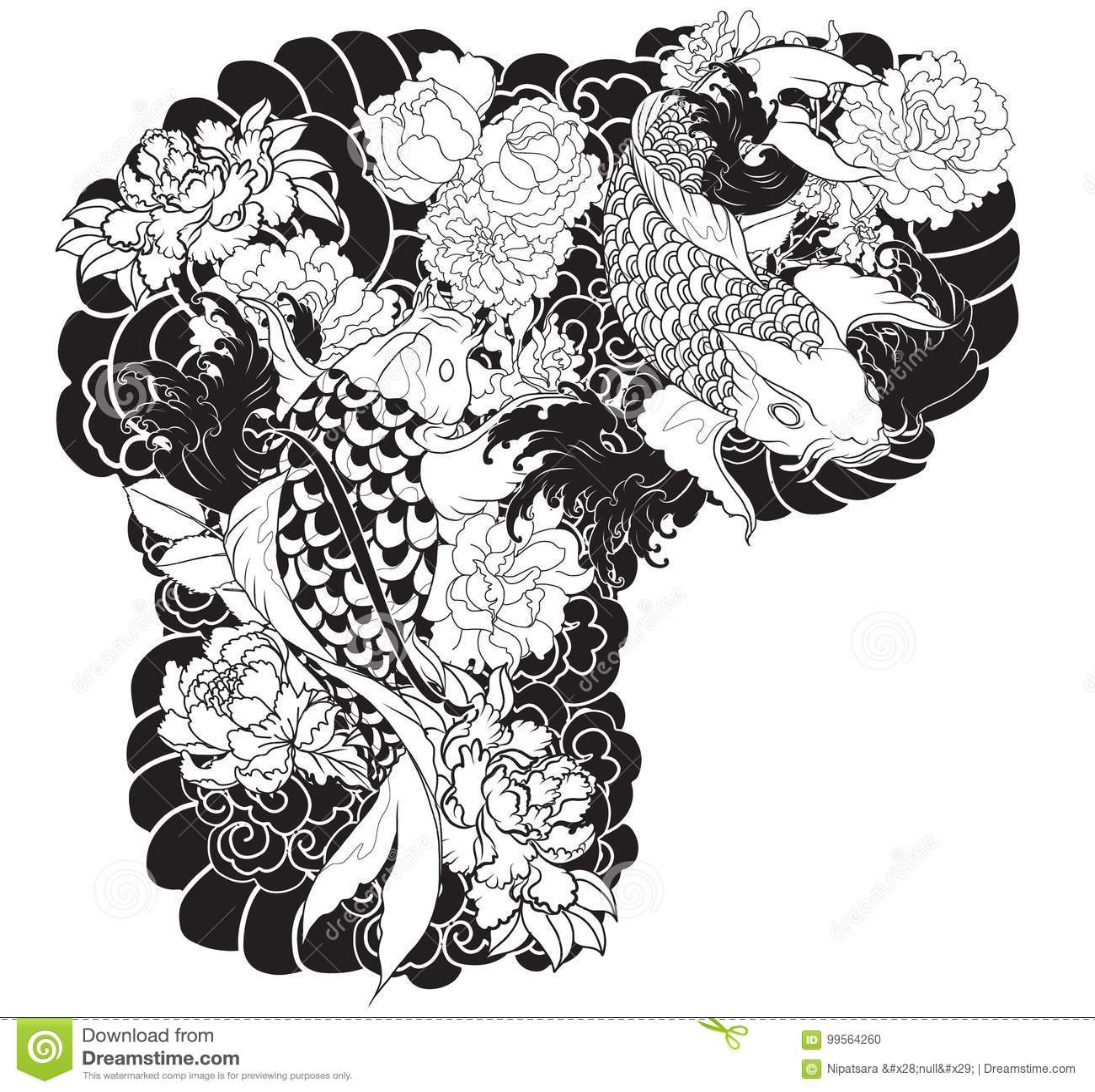 Beautiful colorful koi carp with water splash lotus and peony beautiful colorful koi carp water splash lotus peony flower traditional japanese tattoo design hand drawn fish arm 99564260g izmirmasajfo