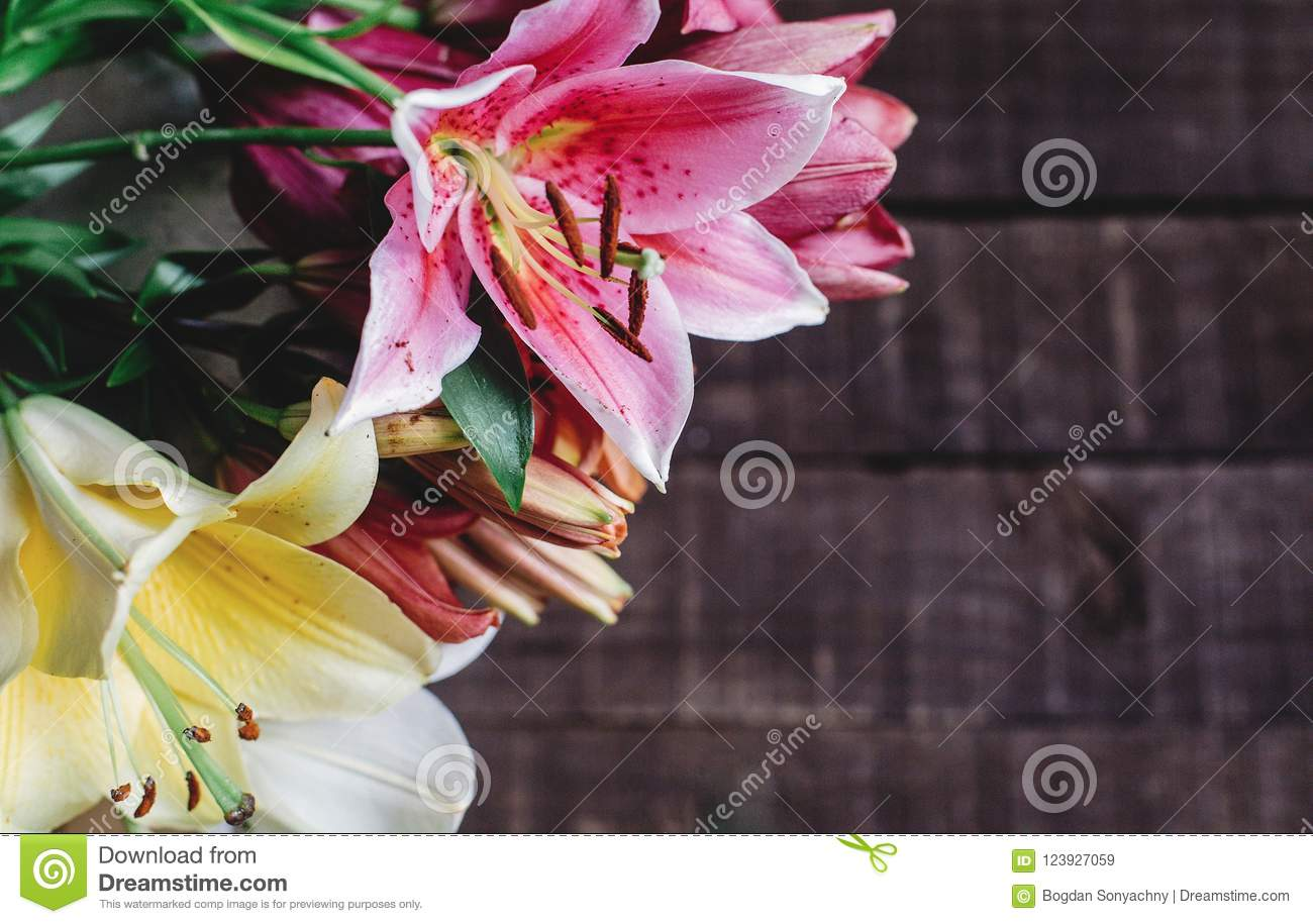 Beautiful colorful lily flowers on wooden background yellow pin download beautiful colorful lily flowers on wooden background yellow pin stock image image of izmirmasajfo