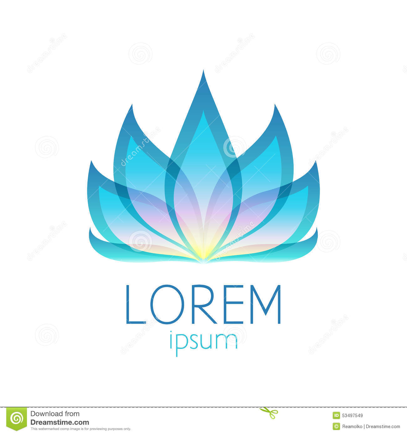 Beautiful Colorful Lotus Flower Logo Sign Stock Vector