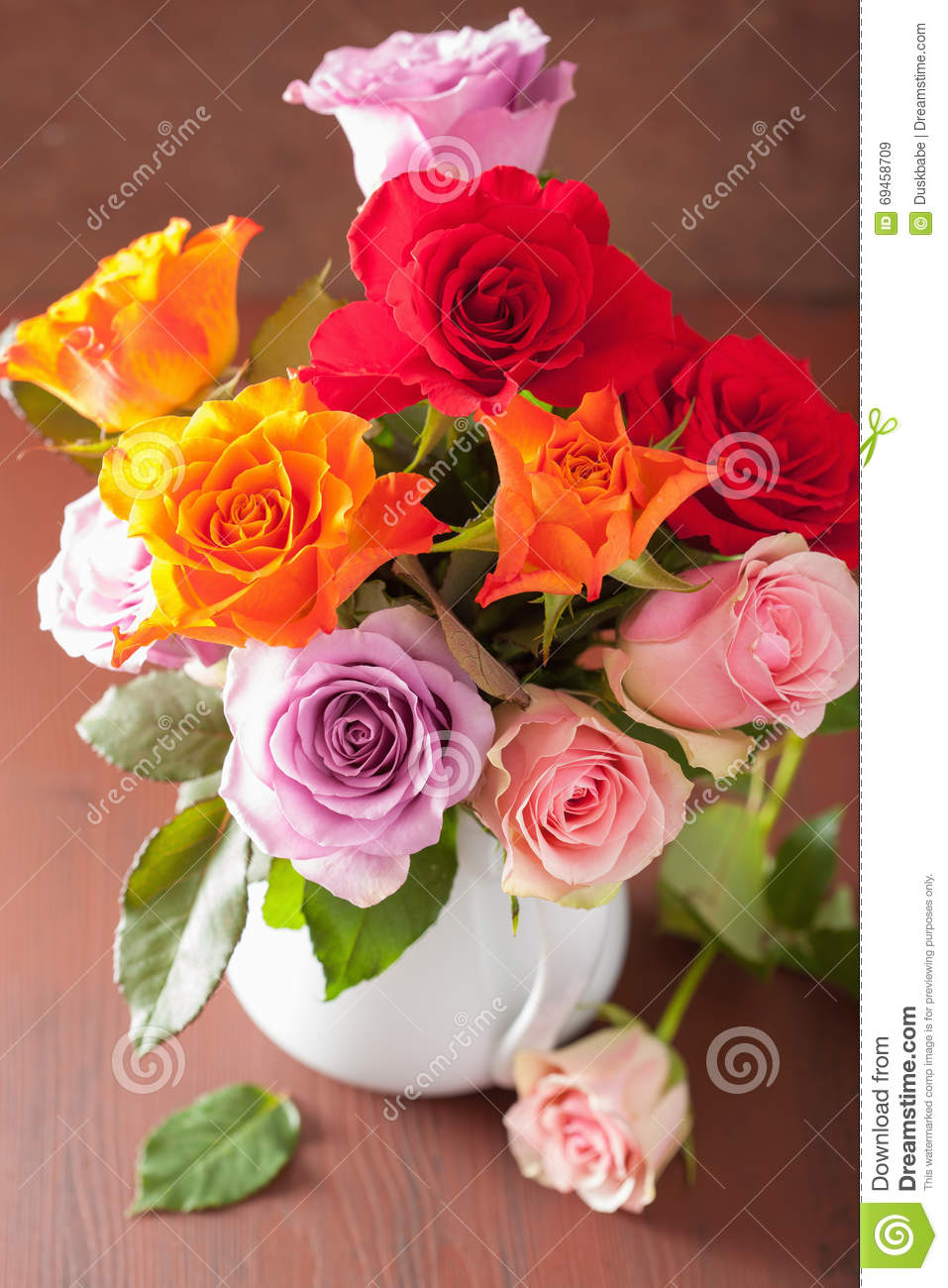 Beautiful Colorful Rose Flowers Bouquet In Vase Stock Image - Image ...