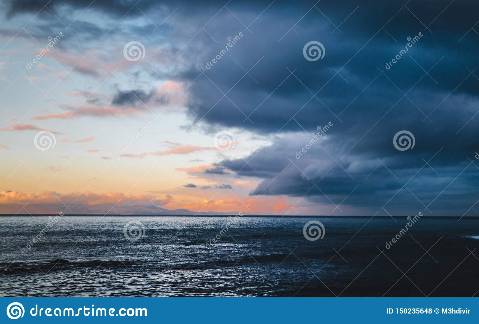 Beautiful colorful sky with approaching storm