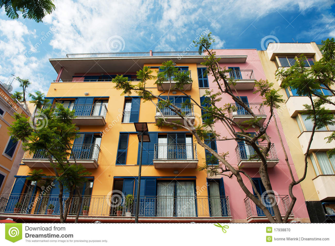 Beautiful Colorful Spanish Apartments Stock Photo - Image ...