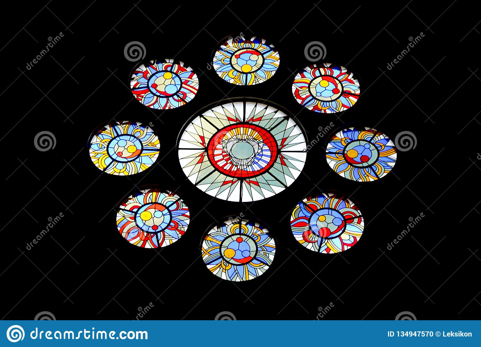 Beautiful colorful stained glass window. Stained glass painting