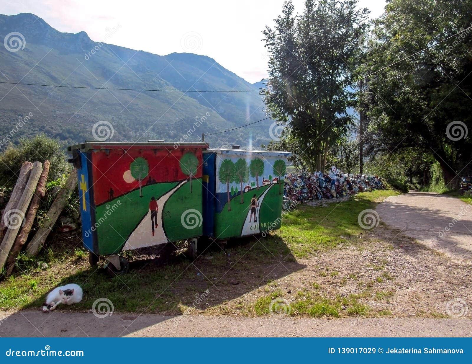 Beautiful colorful street art welcoming pilgrims in Cuerres, Asturias, Camino de Santiago route, Spain