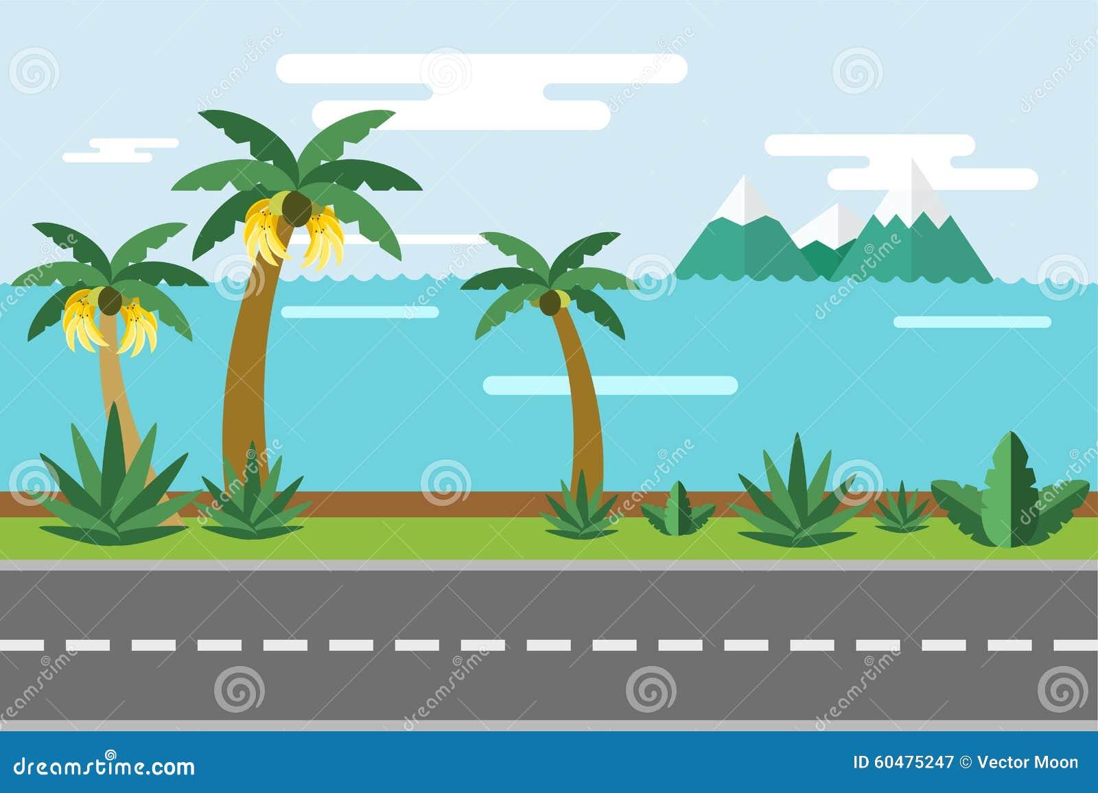 Video Cartoon Sea Beach Palm Tree