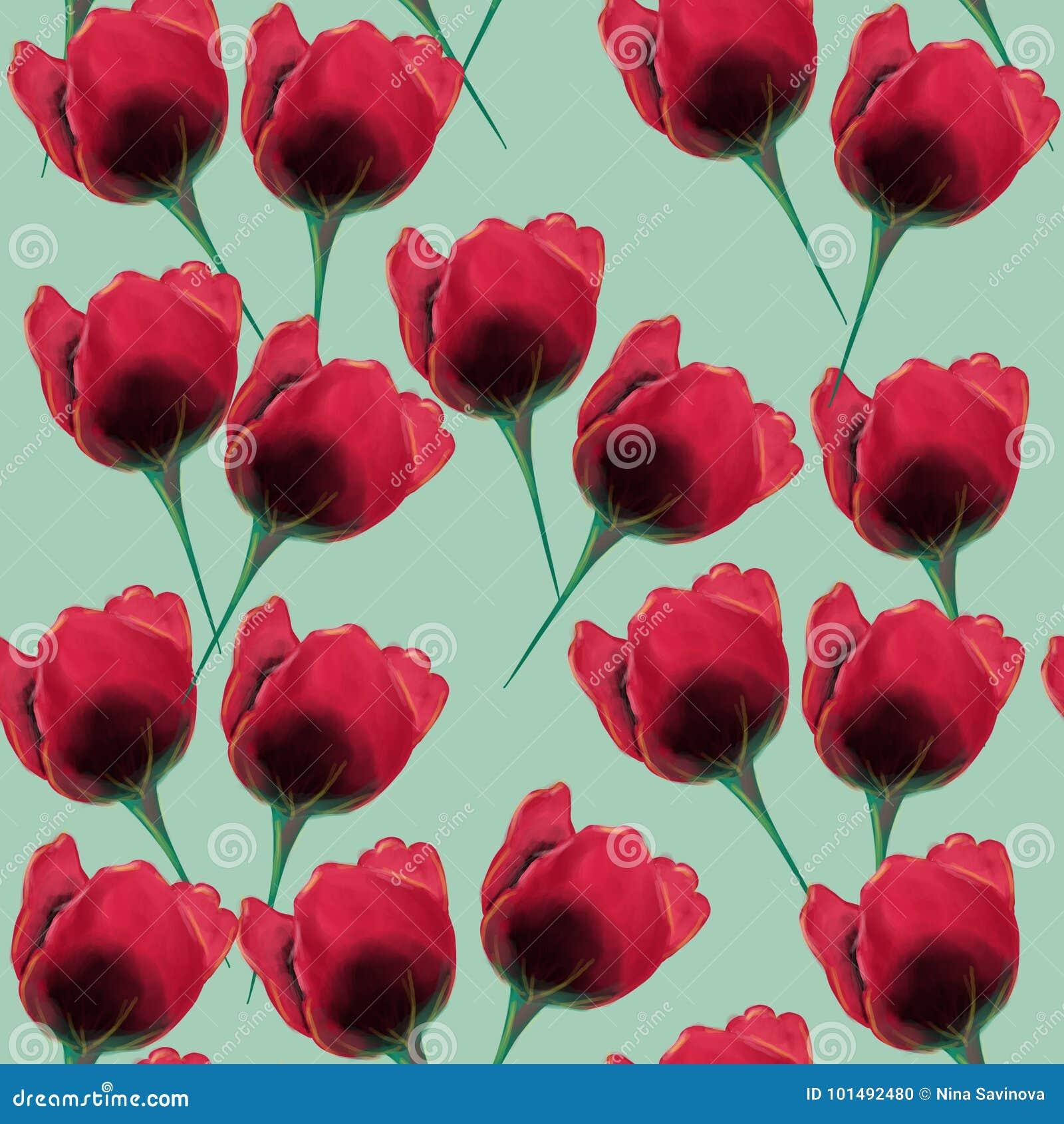 Beautiful and colorful tulpan flower seamless pattern