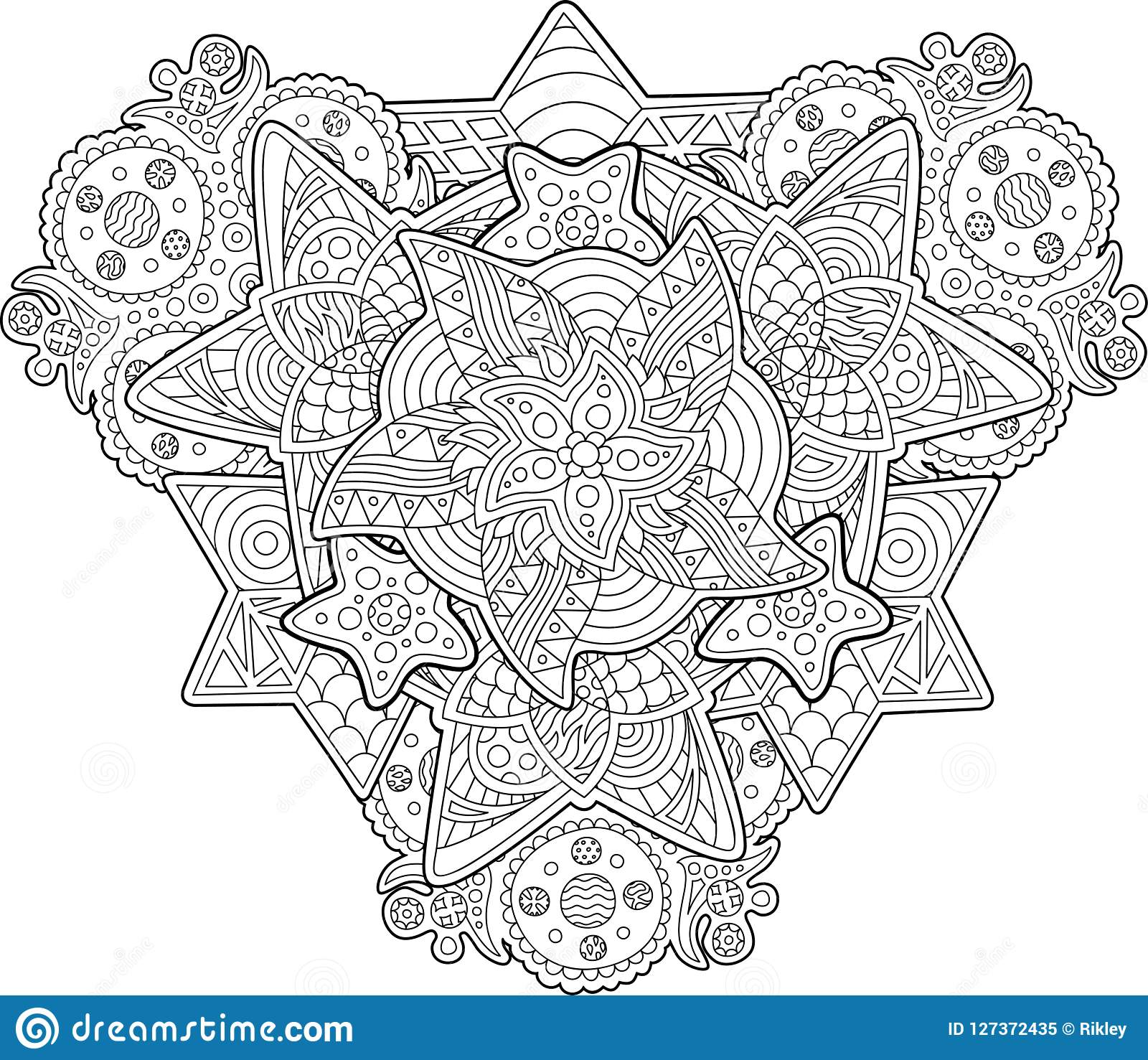 Coloring Book Page With Shapes Of The Stars Stock Vector ...