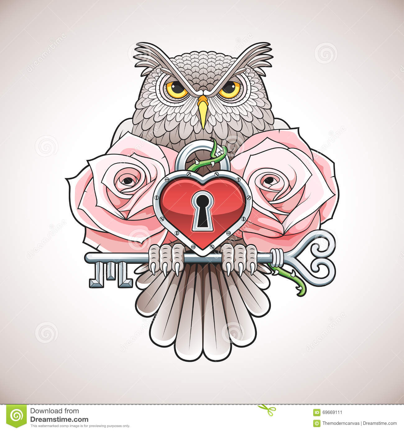 beautiful colour tattoo design of an owl holding a key with a heart locket and pink roses stock. Black Bedroom Furniture Sets. Home Design Ideas