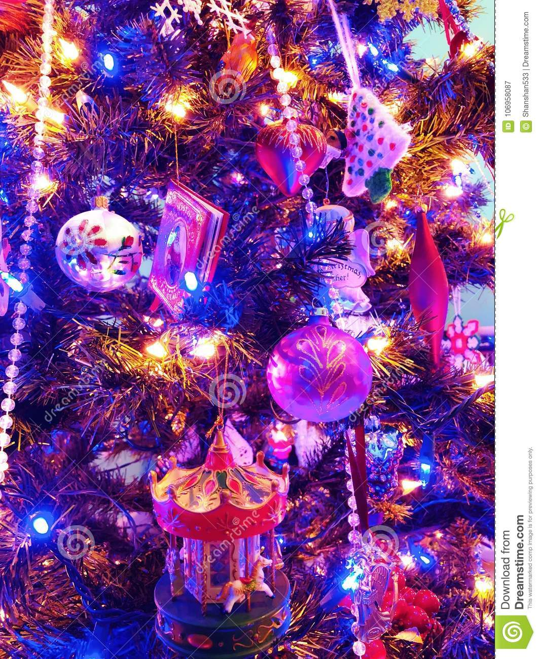 Christmas Ornaments Lights Up Stock Image