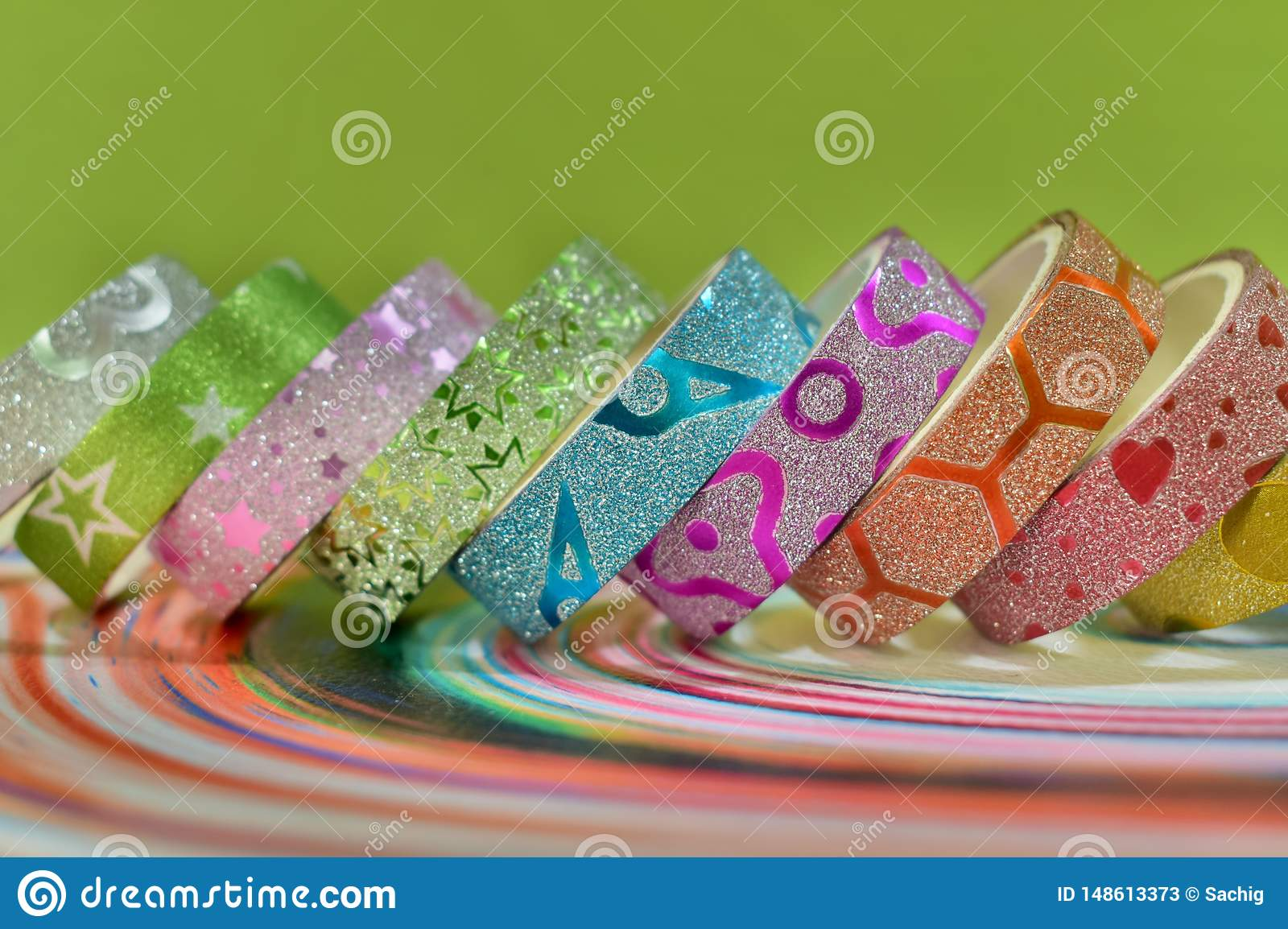Beautiful Colourful Glitter Texture Designed Adhesive Tape