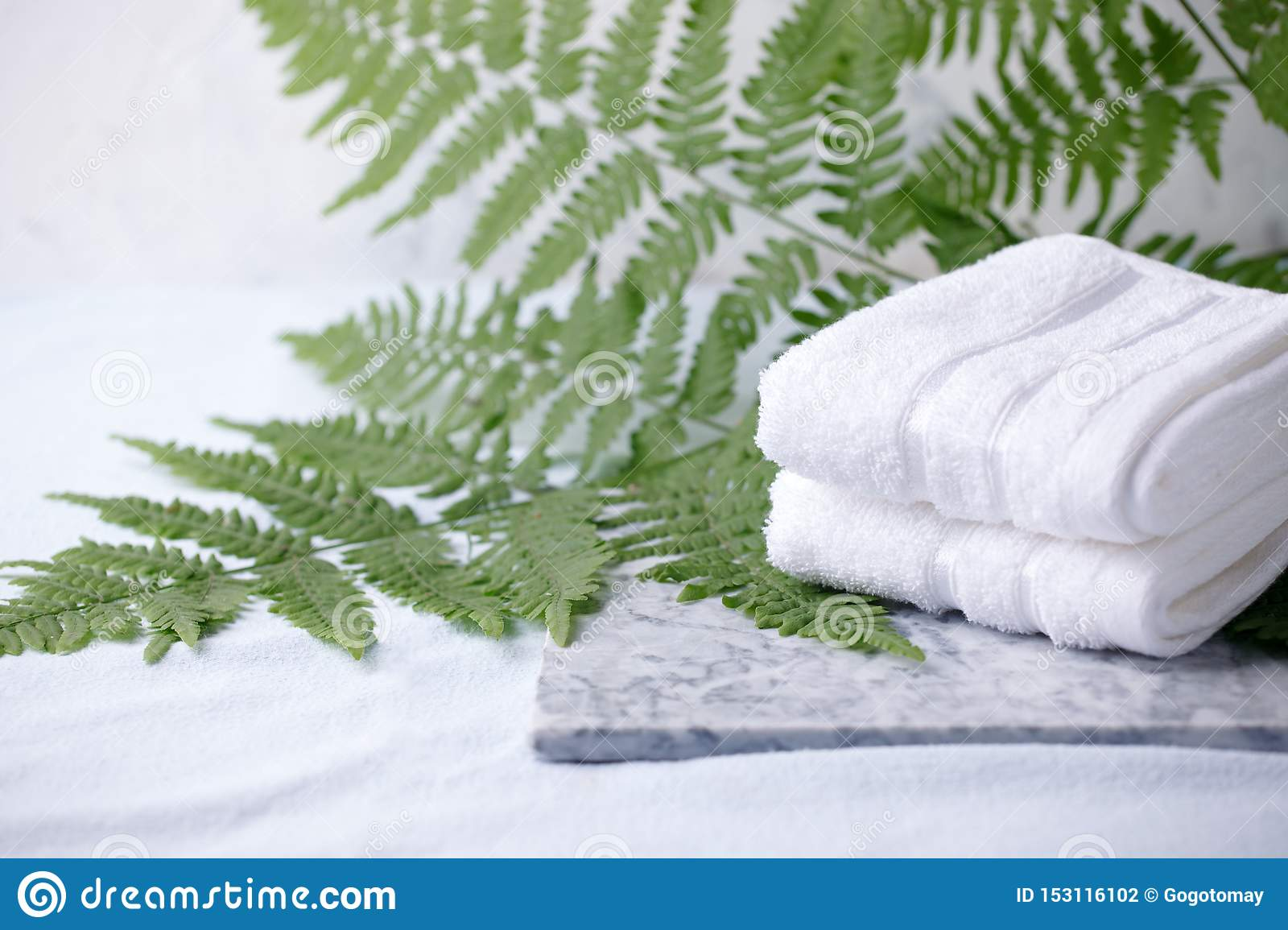 Beautiful composition of spa treatment with white cotton towels on marble plate and fern branches, minimal spa relax concept, eco