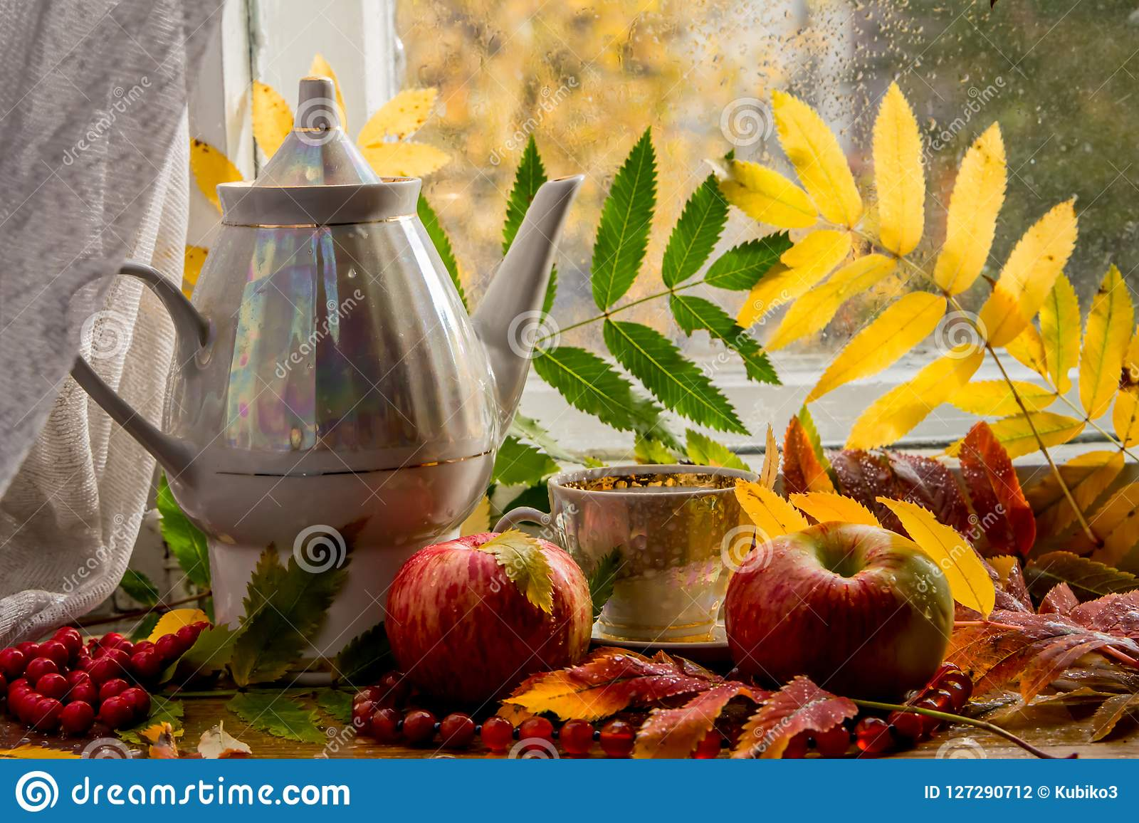 Beautiful composition of wet leaves of Rowan and fresh apples