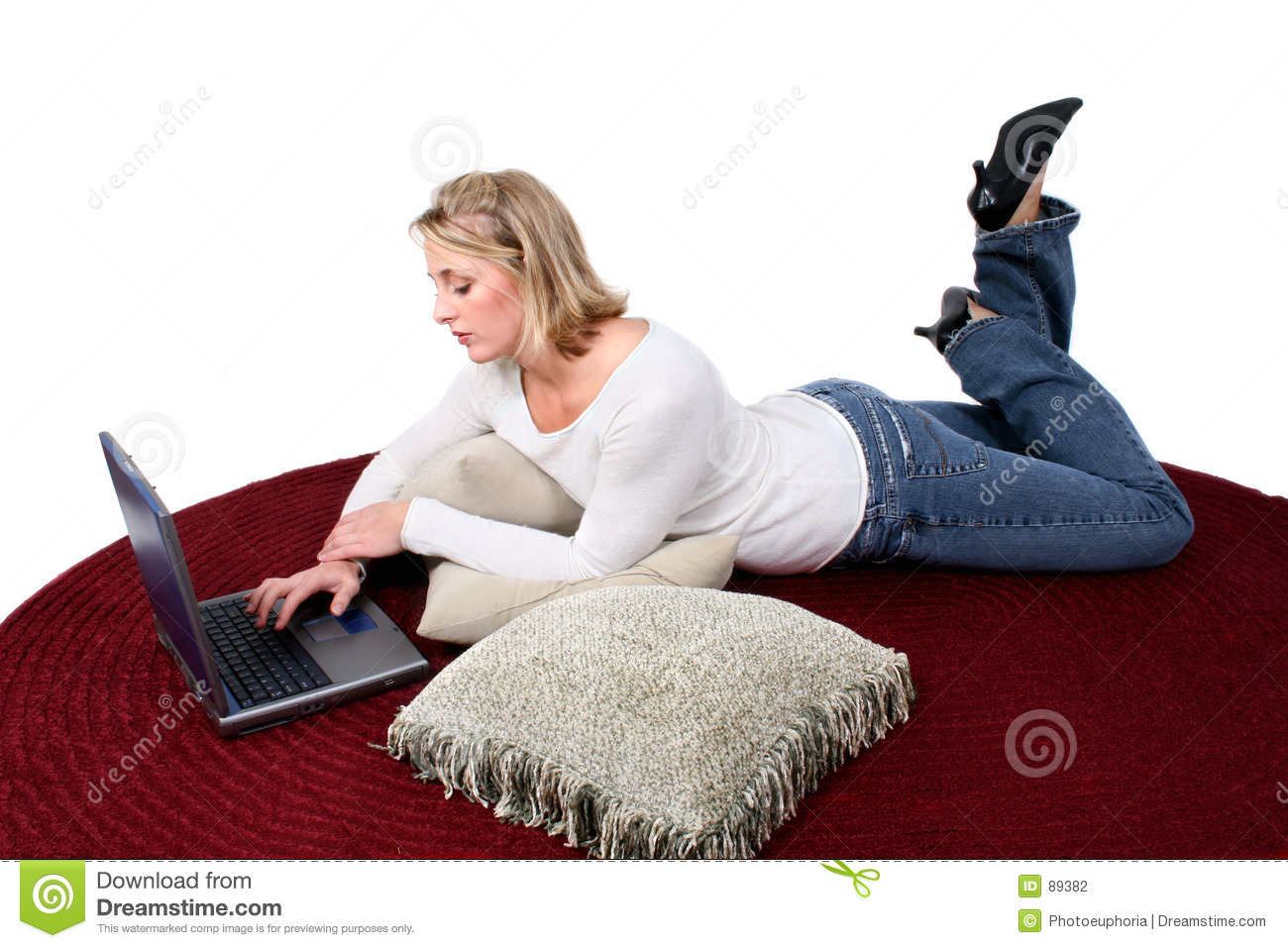 Beautiful computer floor laptop woman