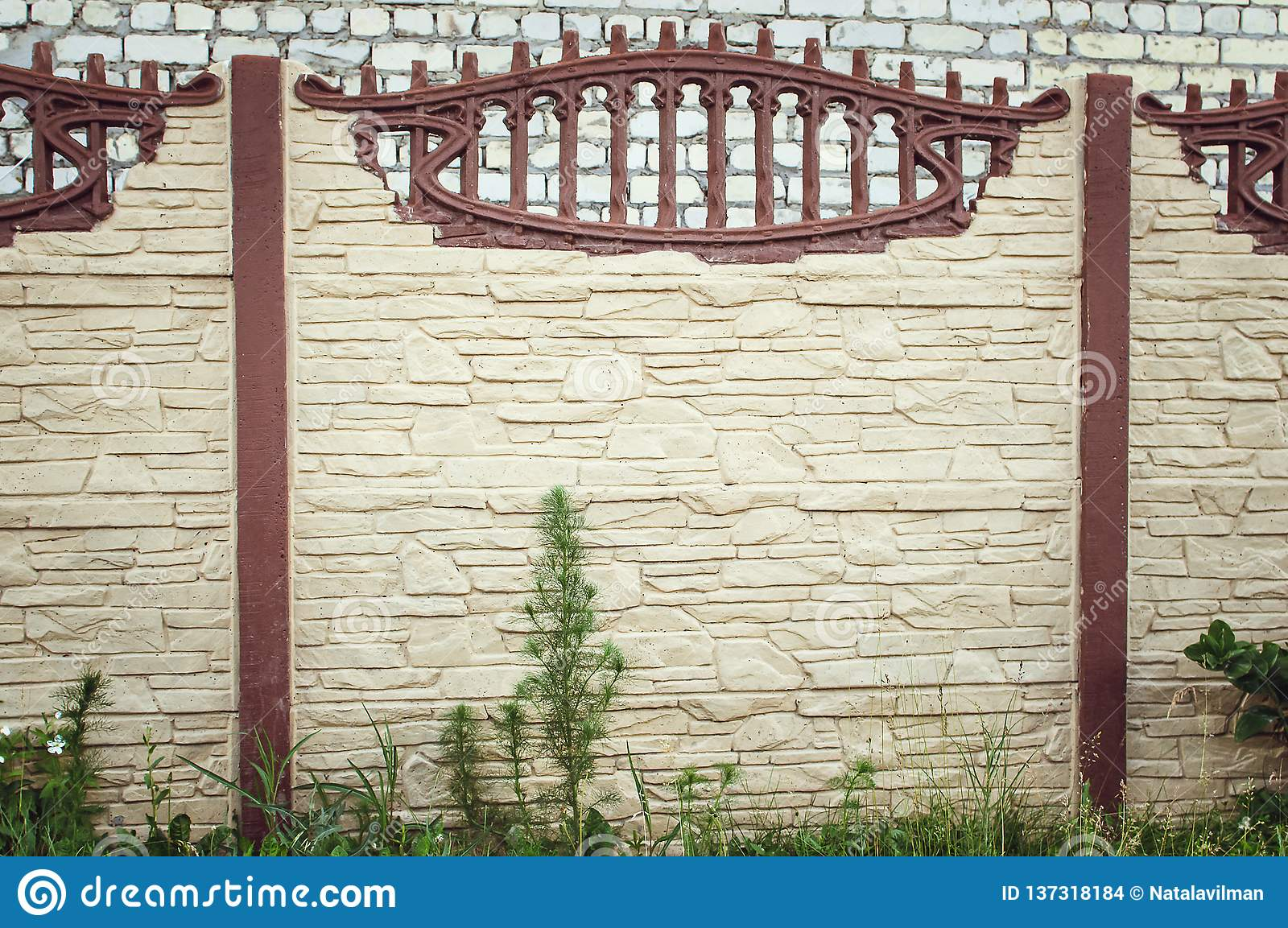 Beautiful Concrete Fence Of Modern Style Design Fence Ideas Front View Stock Photo Image Of Grate Color 137318184