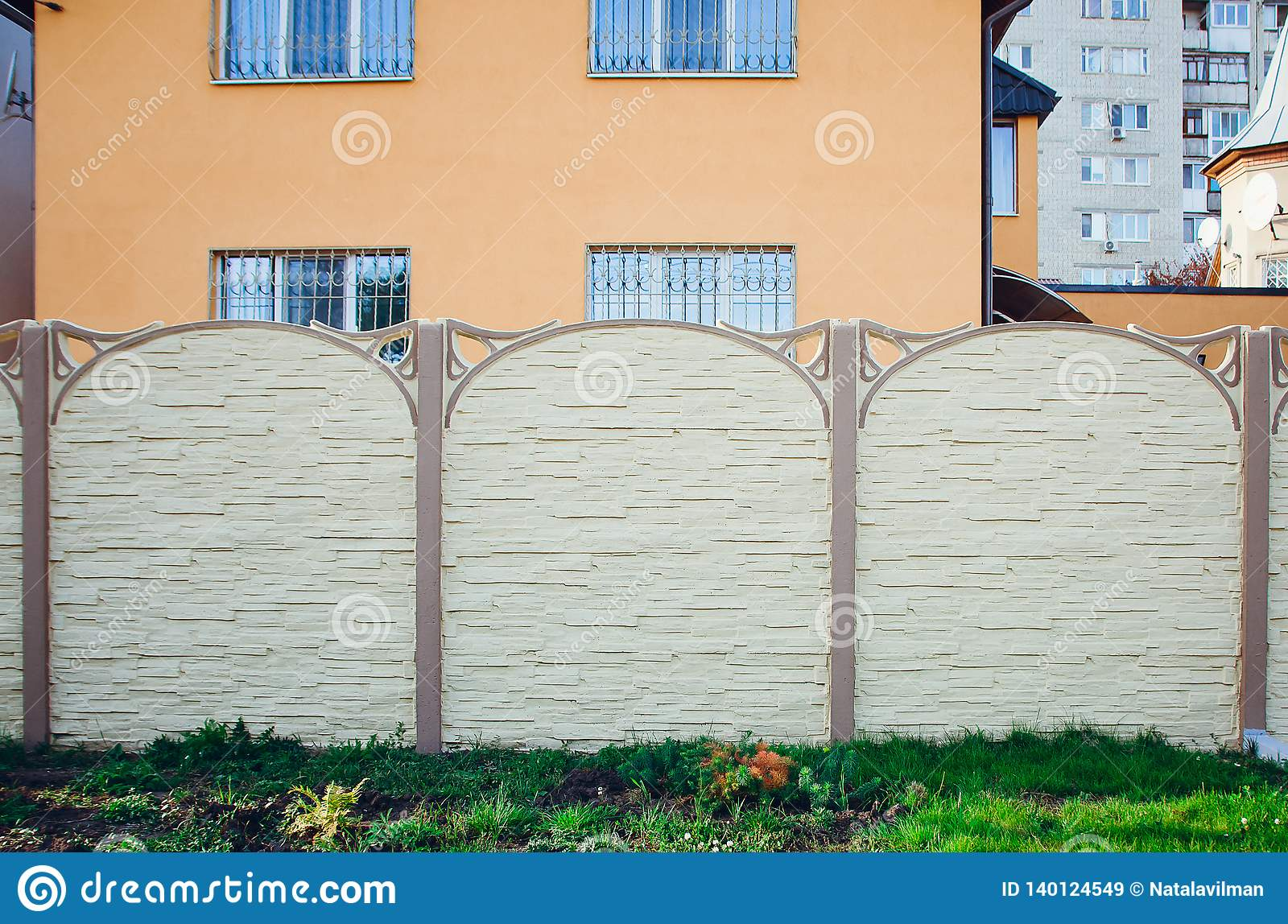 Beautiful Concrete Fence Of Modern Style Design Fence Ideas Front View Stock Image Image Of Closen Decor 140124549
