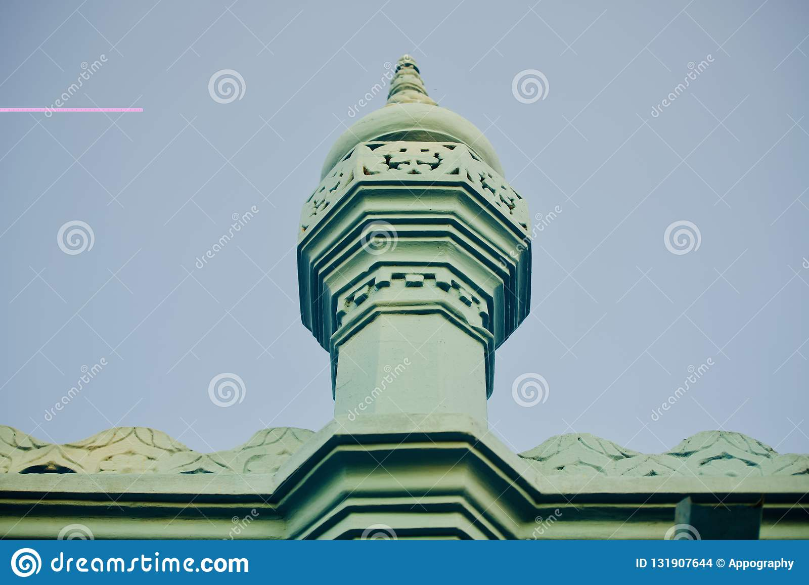 Isolated minarets of a mosque unique photo