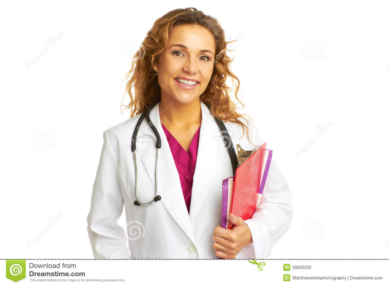 Beautiful Confident Female Doctor Holding Clipboard