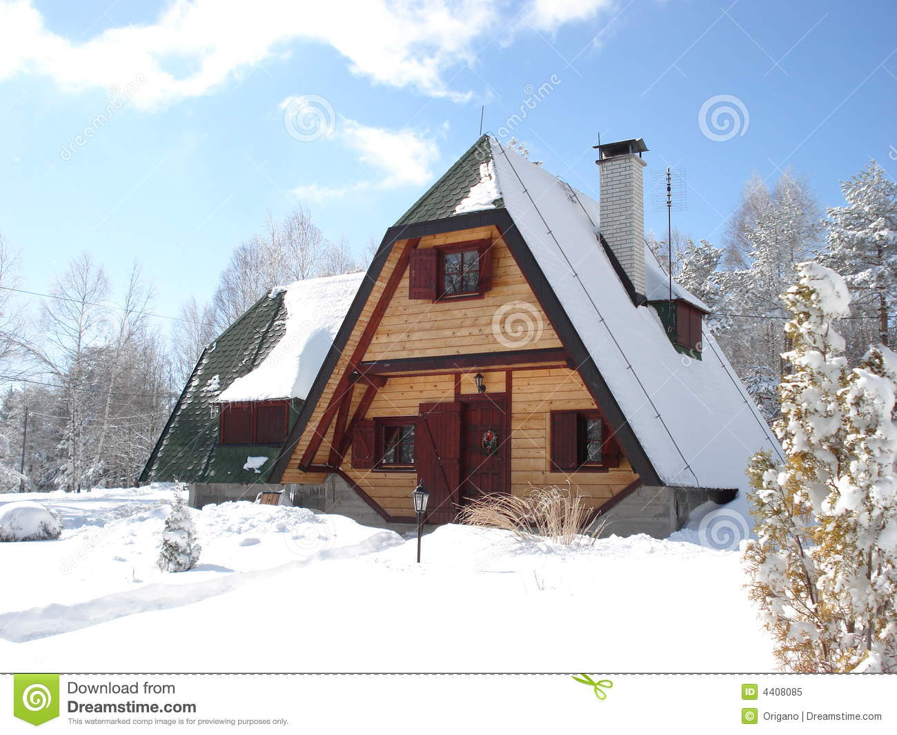 Beautiful cottage in the mountains royalty free stock for Cottage in the mountains