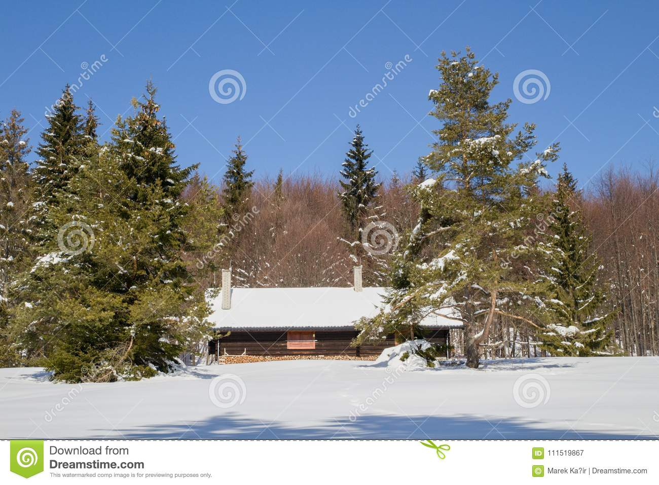 Cottage In The Woods Winter Stock Image