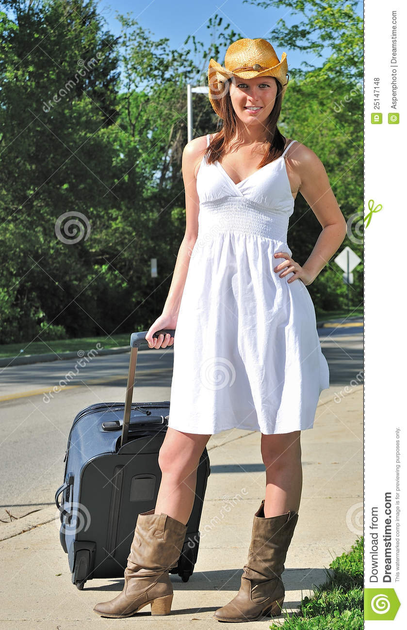Beautiful Country Girl Traveling Stock Photo Image Of