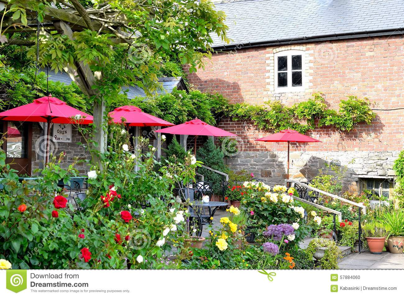 Beautiful countryside cafe in england stock photo image 57884060 - Countryside dream gardens ...