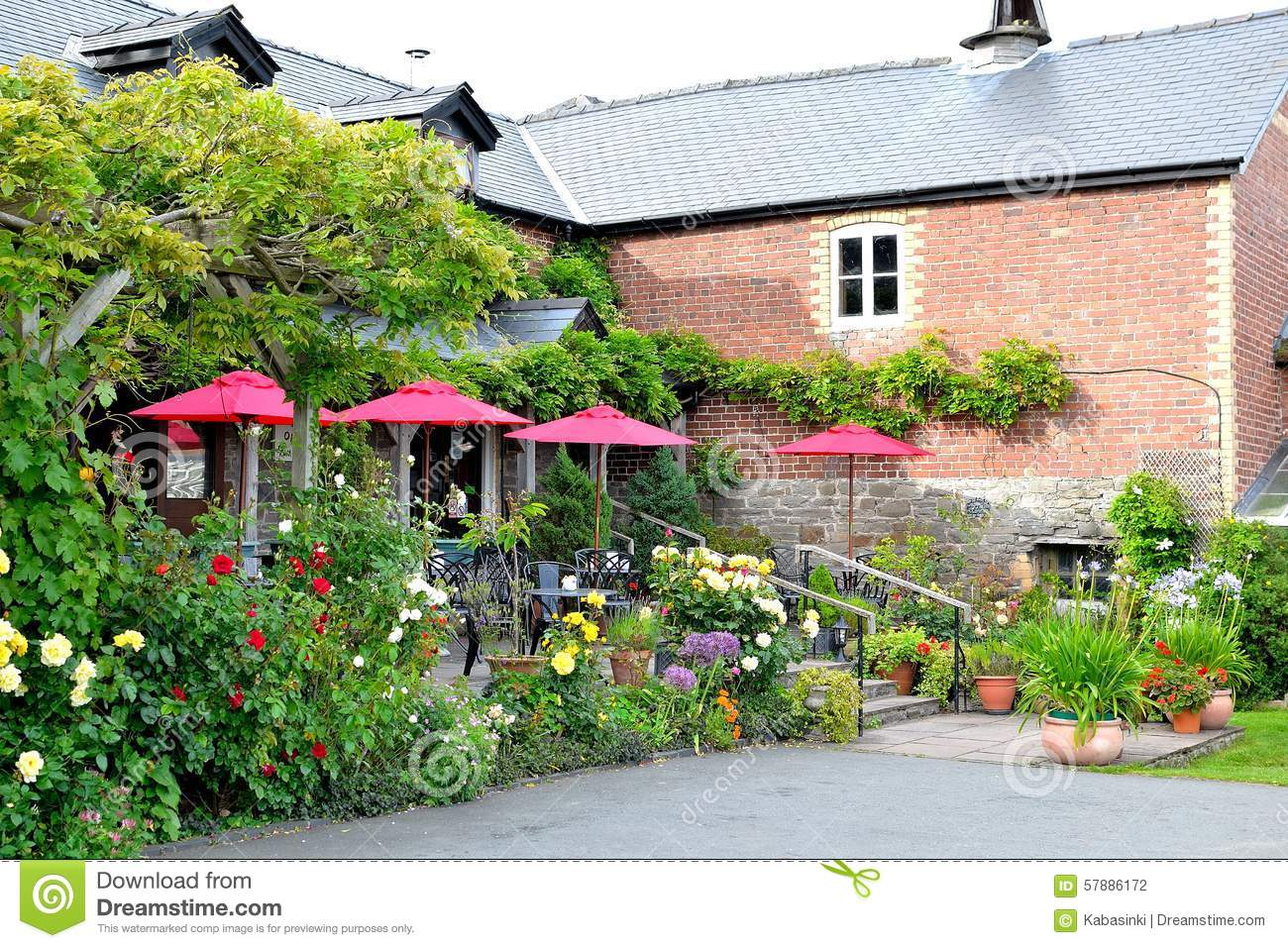 Beautiful countryside cafe in england stock photo image 57886172 - Countryside dream gardens ...