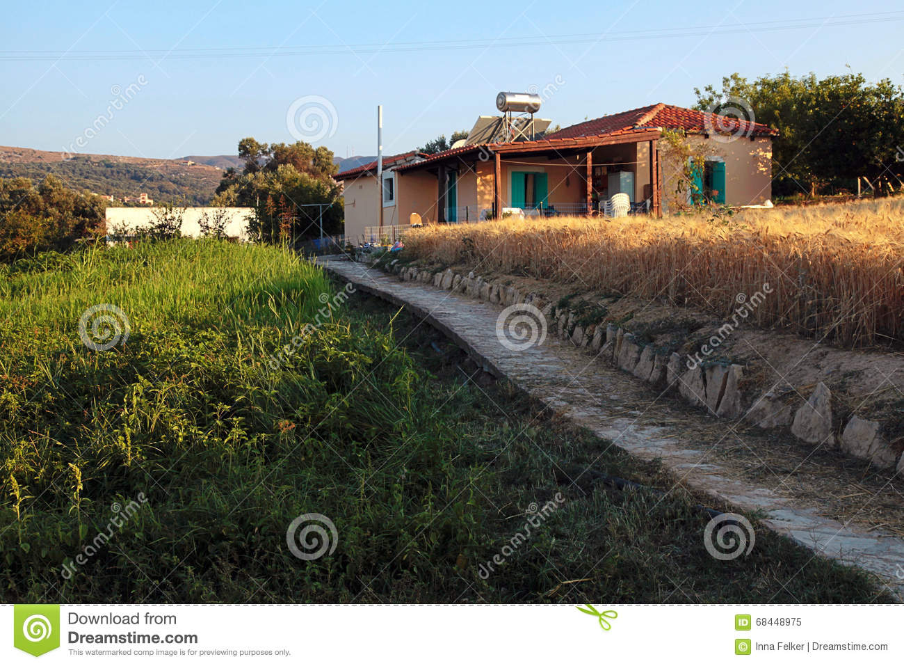 Beautiful Countryside Landscape With Old House, Crete, Greece Stock ... for Countryside Landscape With House  67qdu