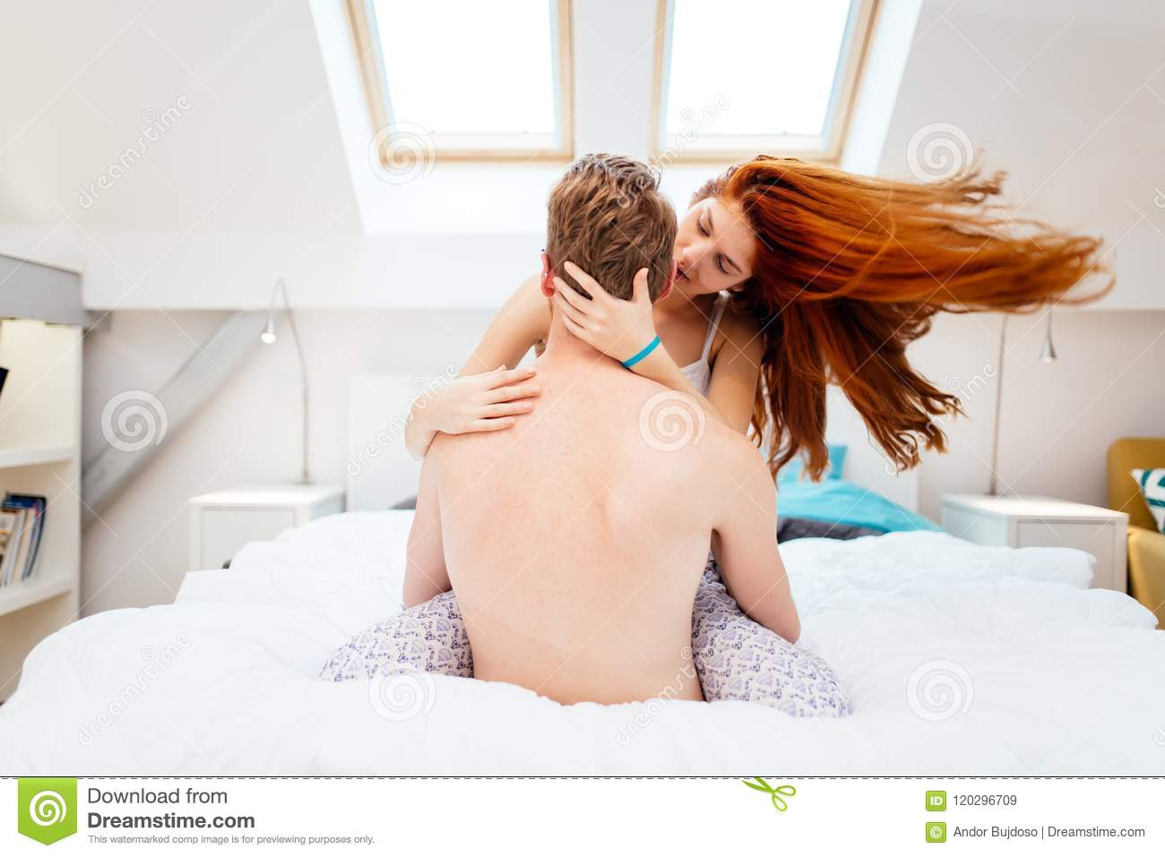 Beautiful Couple Romance In Bed Stock Image - Image of kiss
