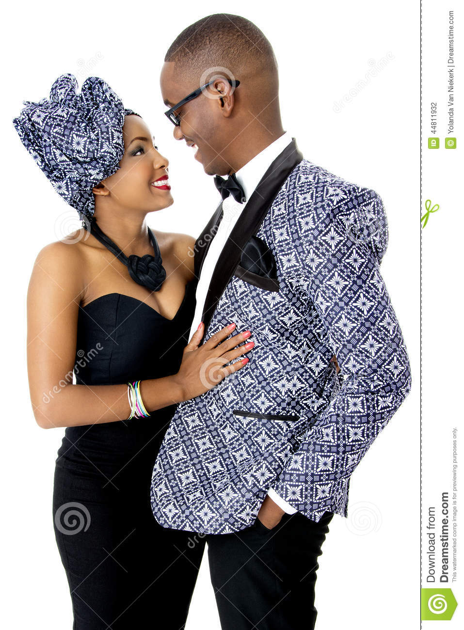 African American Couple Dressed in White