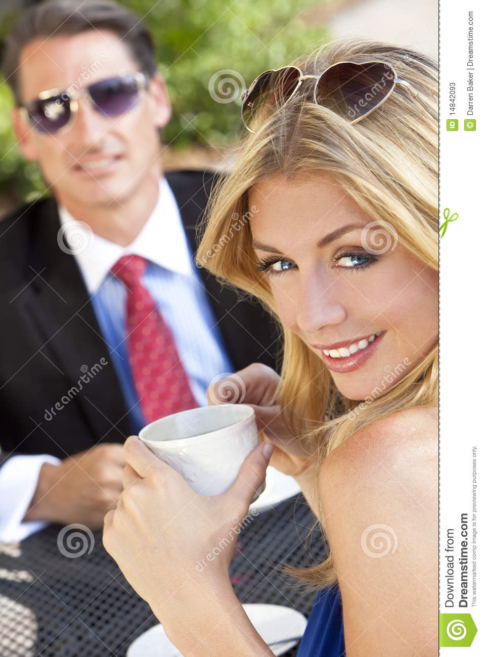 Beautiful Couple Drinking Coffee At Cafe Stock Photos Image 14842093